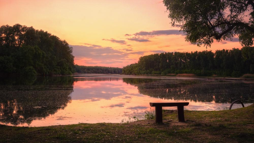 Lakeside bench wallpaper