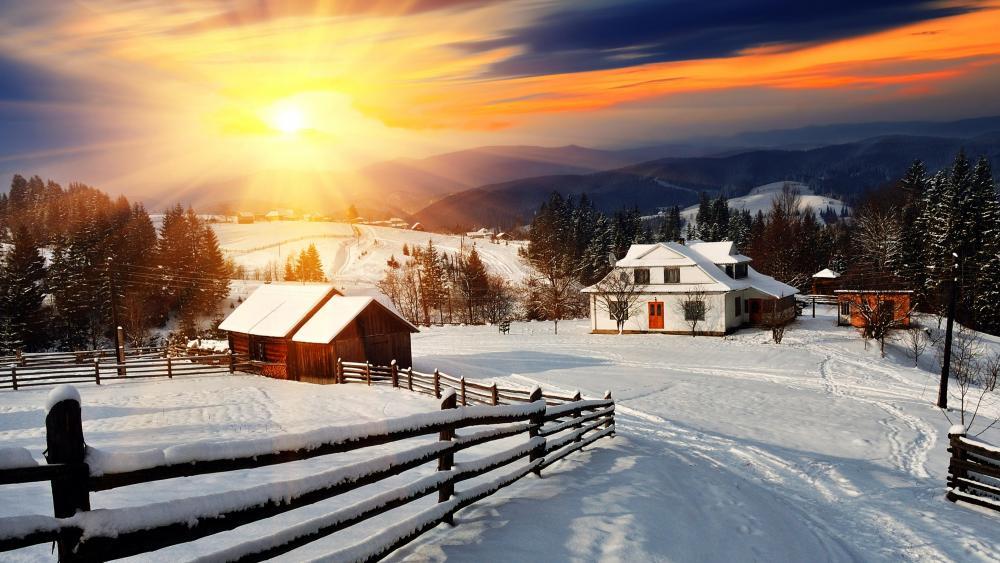 Winter village sunrise wallpaper