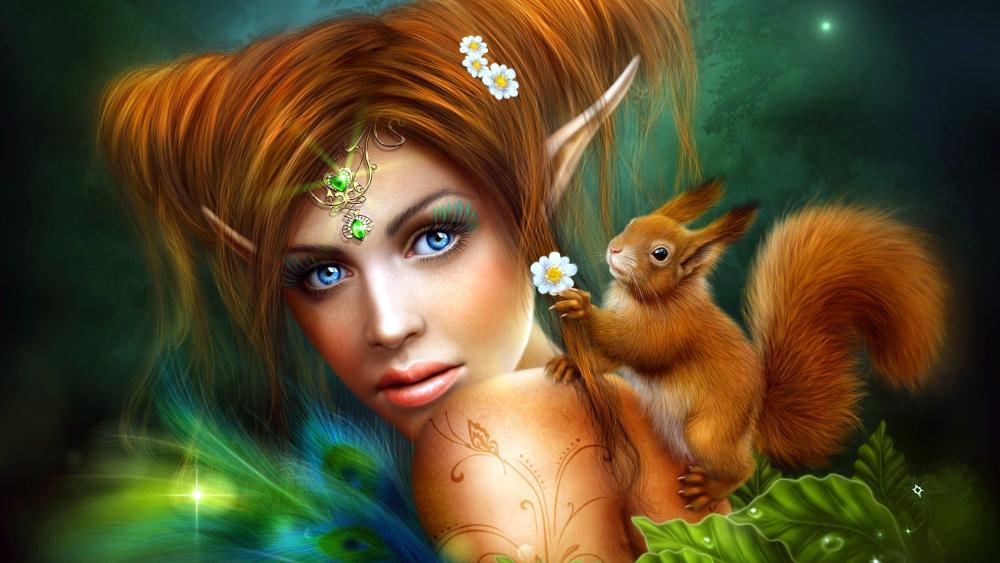 Girl with squirrel fantasy art wallpaper