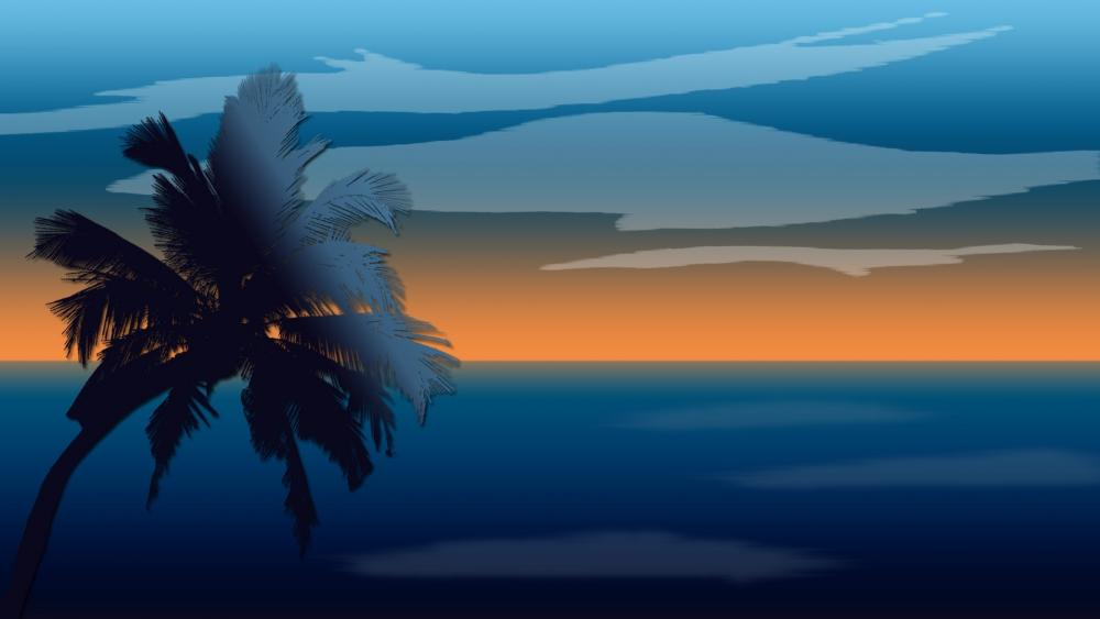 Retro palm tree wallpaper