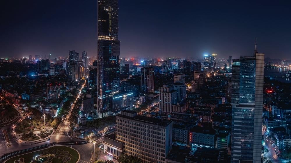 Nanjing city center at night wallpaper