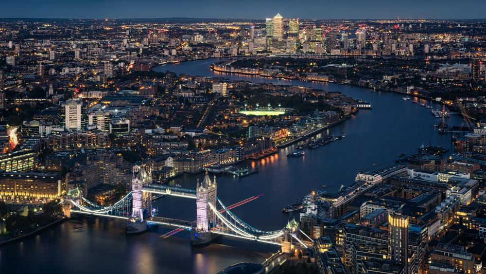 London skyline with Tower Bridge at night wallpaper