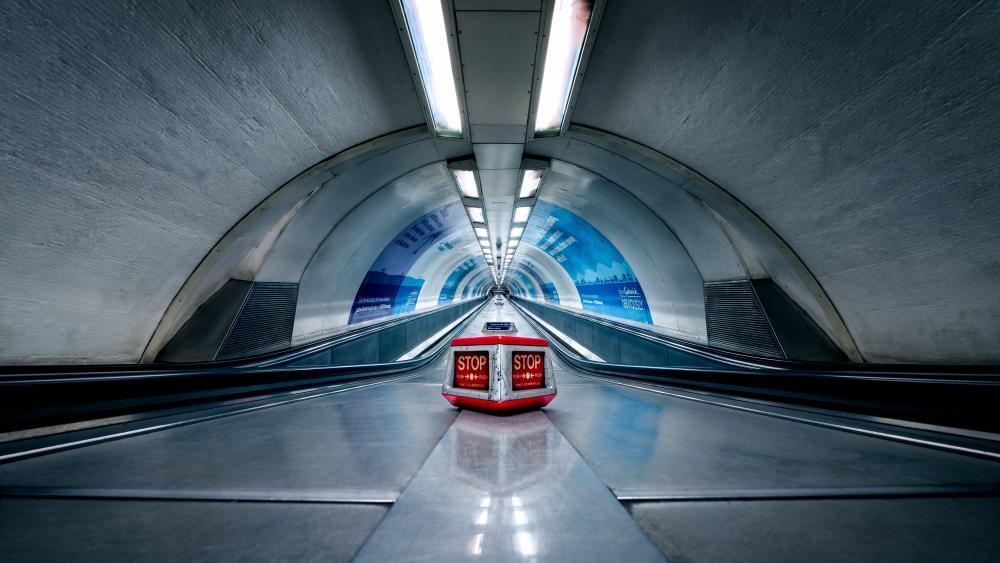 Subway escalator wallpaper