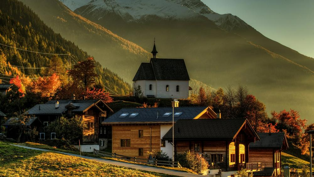 Chapel in Switzerland wallpaper