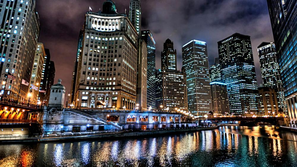 Chicago skyline at night wallpaper
