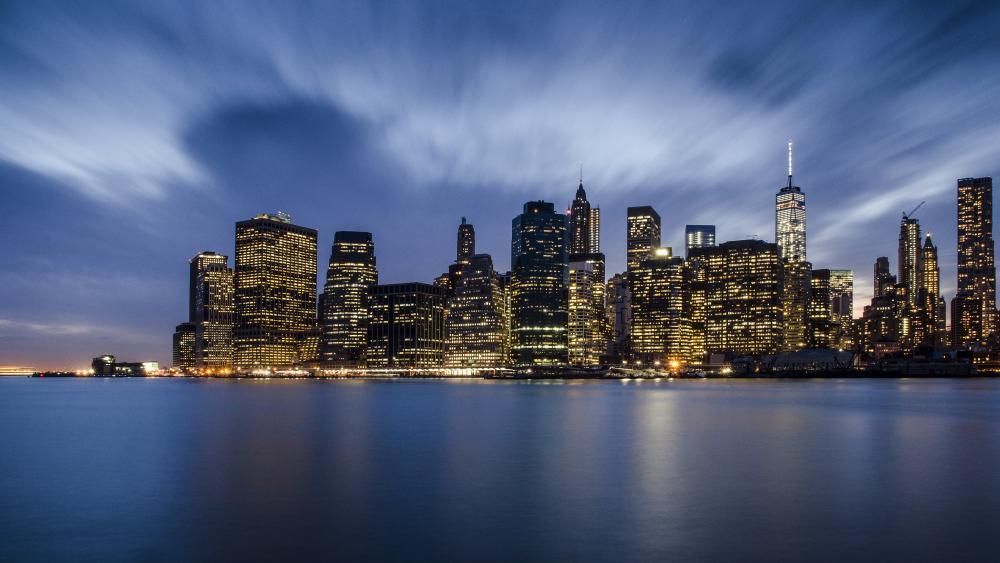Lower Manhattan Financial District at night wallpaper