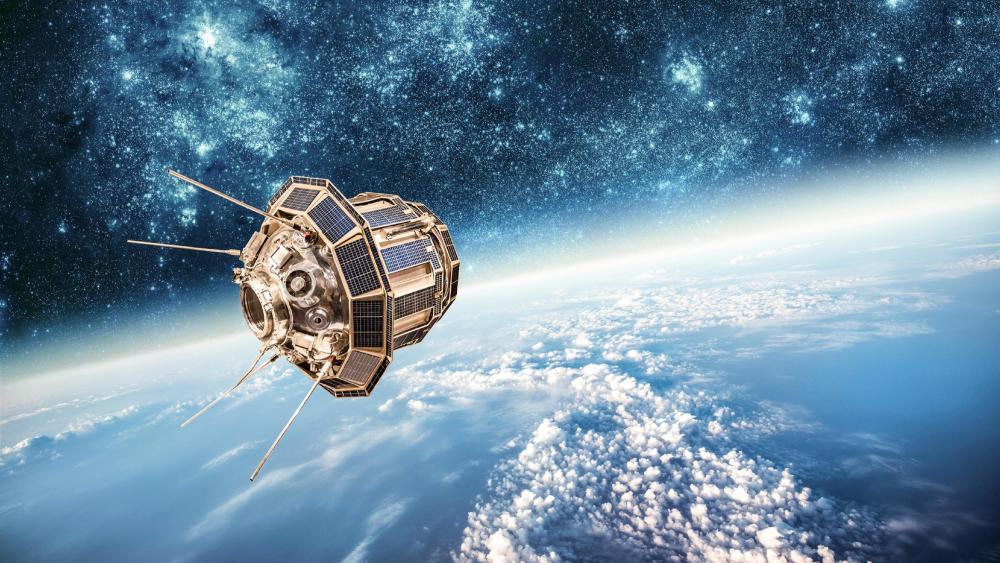 Flying satellite wallpaper