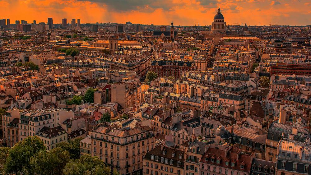 Paris panorama at sunset wallpaper