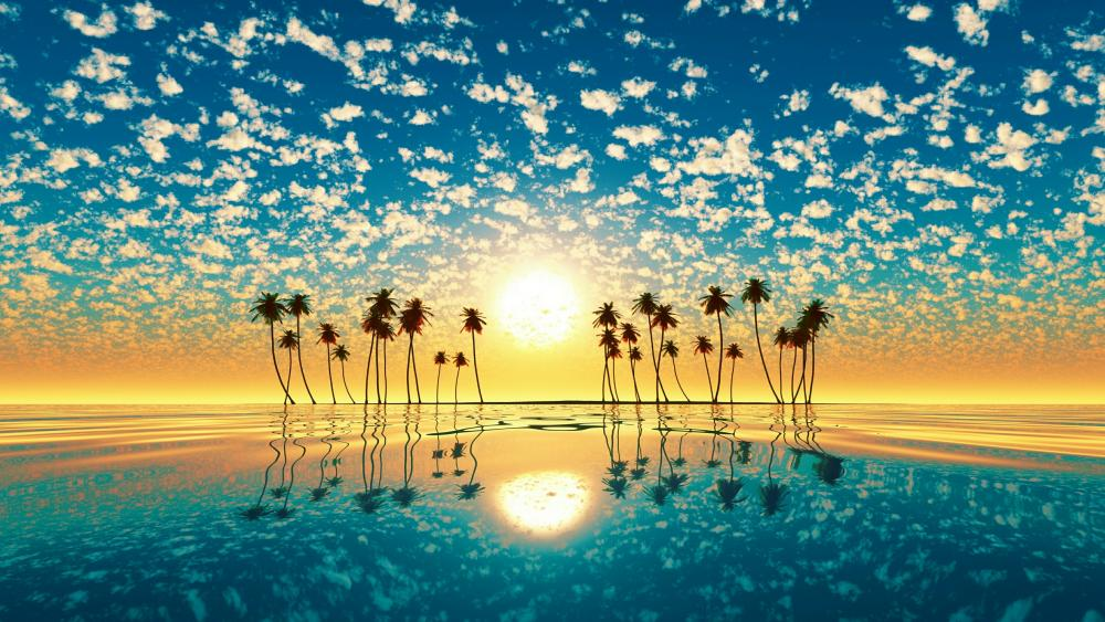 Fantastic sunset over palm trees wallpaper