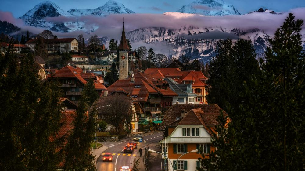 Town in the Swiss Alps wallpaper