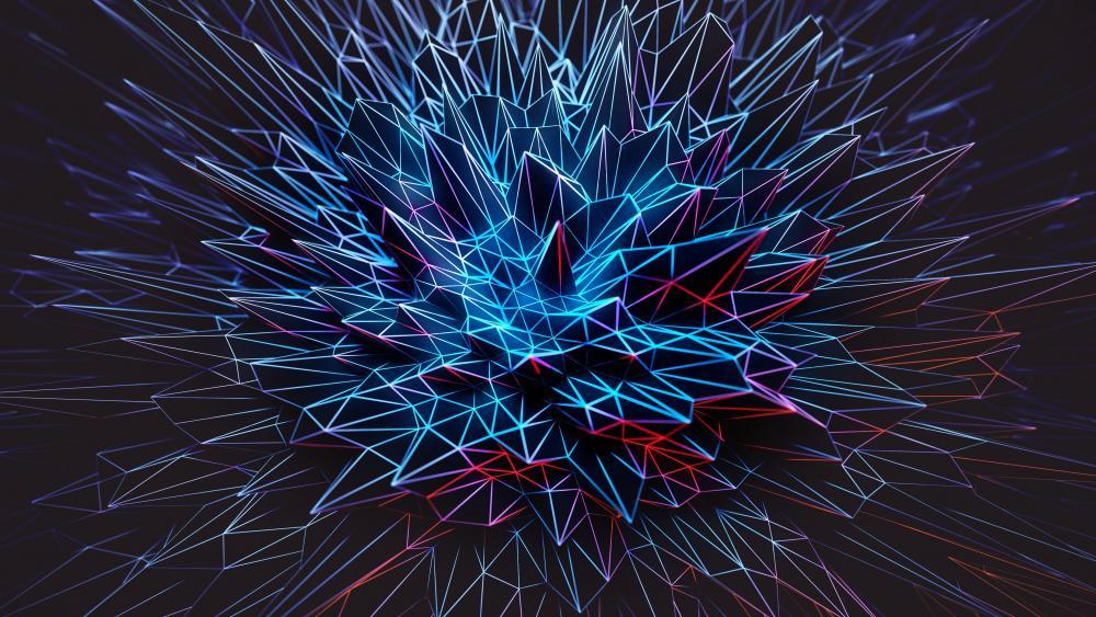 3D blue polygonal spikes digital art wallpaper