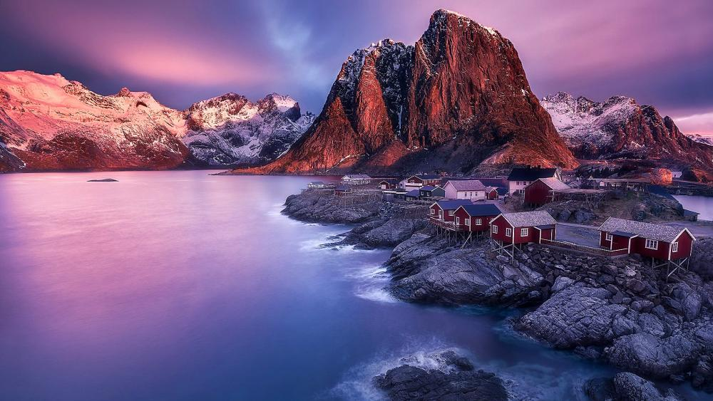 Norwegian fishing village (Hamnoy) wallpaper