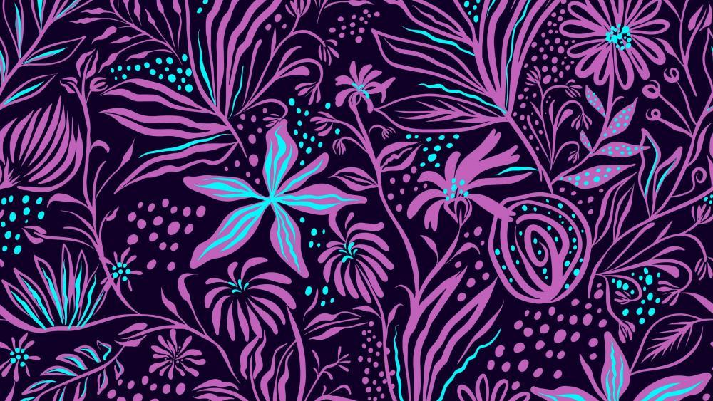 Purple floral pattern wallpaper
