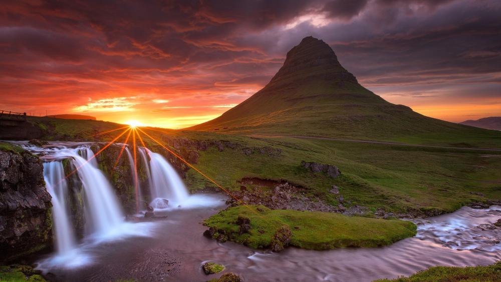 Sunset near Kirkjufellsfoss waterfall wallpaper