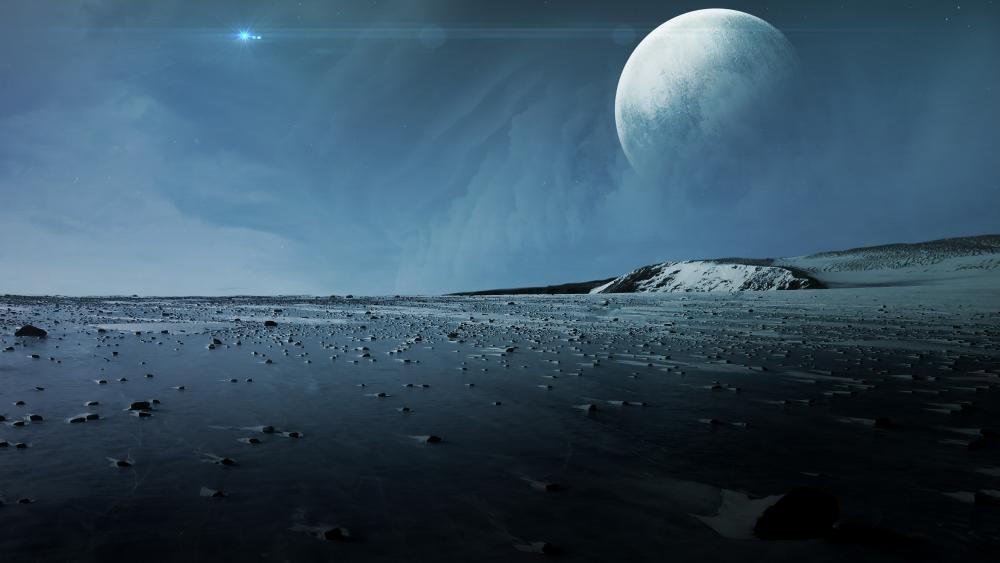 The frozen surface of an alien planet wallpaper