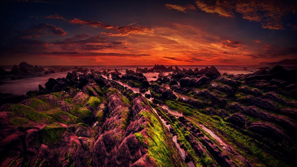 Rocky shore wallpaper