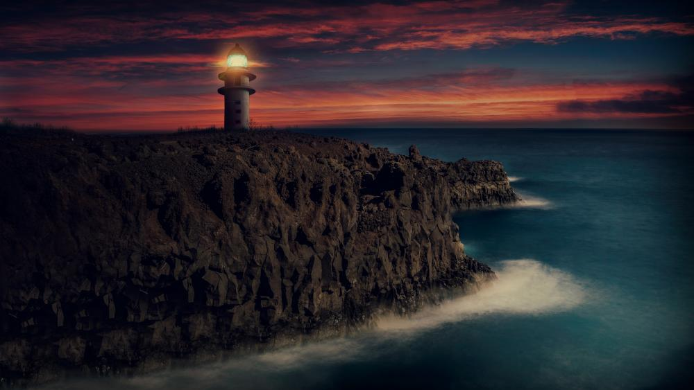 Lighthouse in the sunset wallpaper