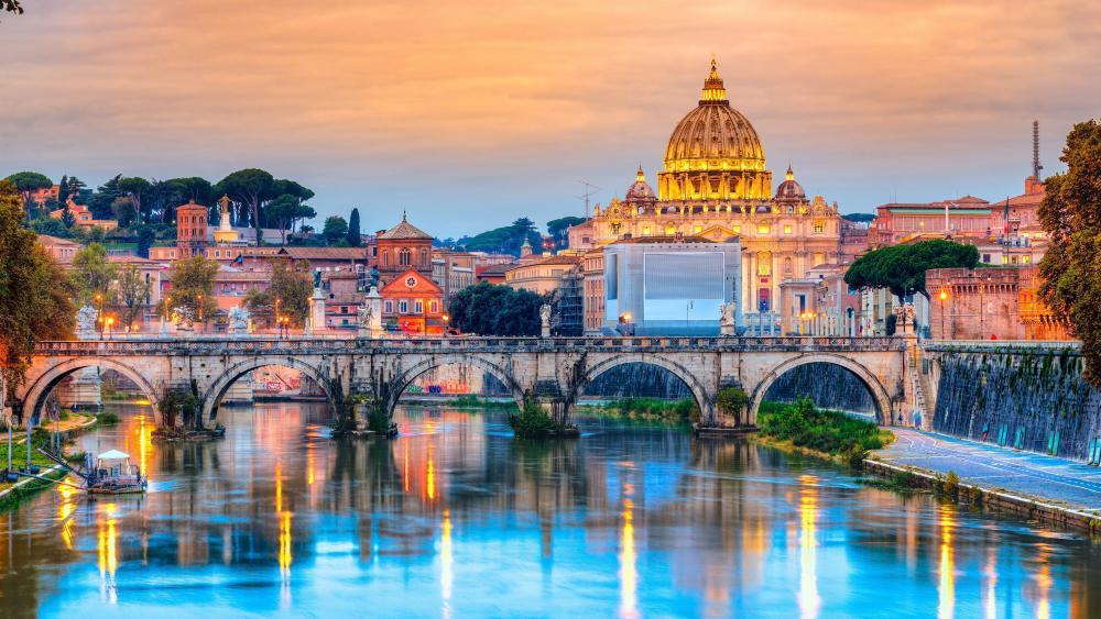 Saint Peter Basilica & St. Angelo Bridge wallpaper