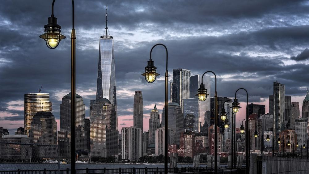 Freedom Tower and Lower Manhattan from Liberty Park wallpaper