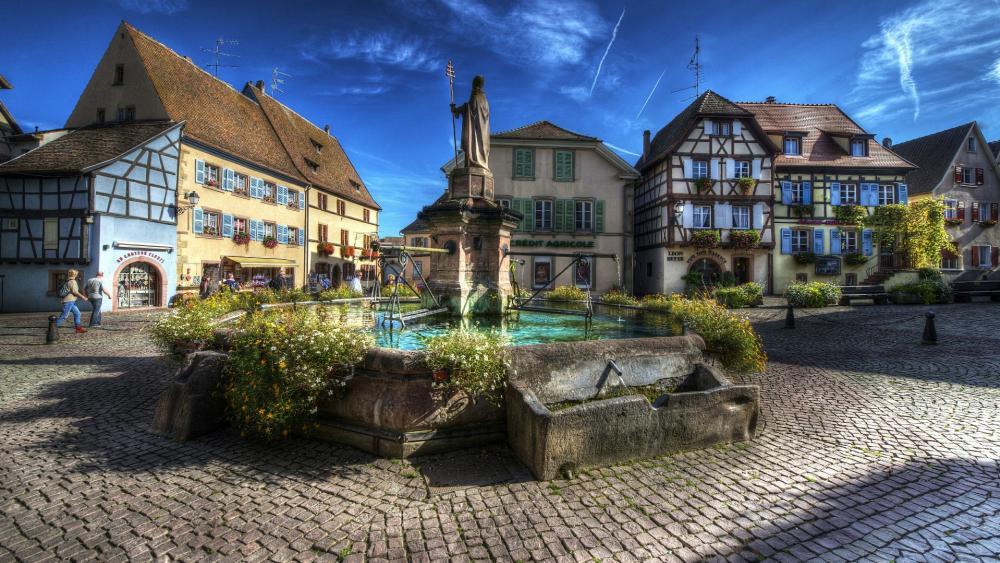 Saint-Leon Fountain  (Eguisheim, France) wallpaper