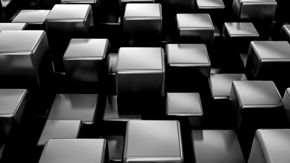 Metal 3D cubes wallpaper