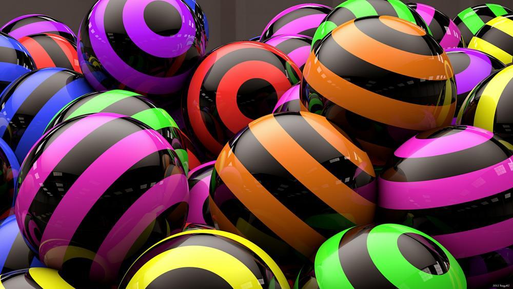 3D multicolor balls wallpaper