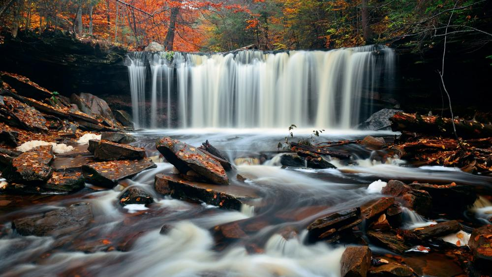 Autumn waterfall with colorful foliage wallpaper