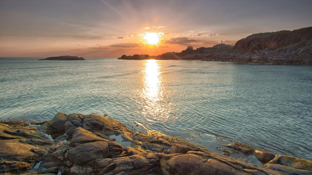 Sunset at the cliffed coast wallpaper