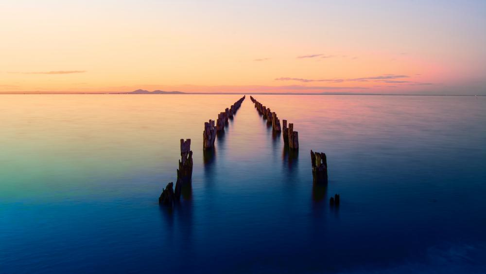 Old pier remains (Clifton Springs, Victoria, Australia) wallpaper