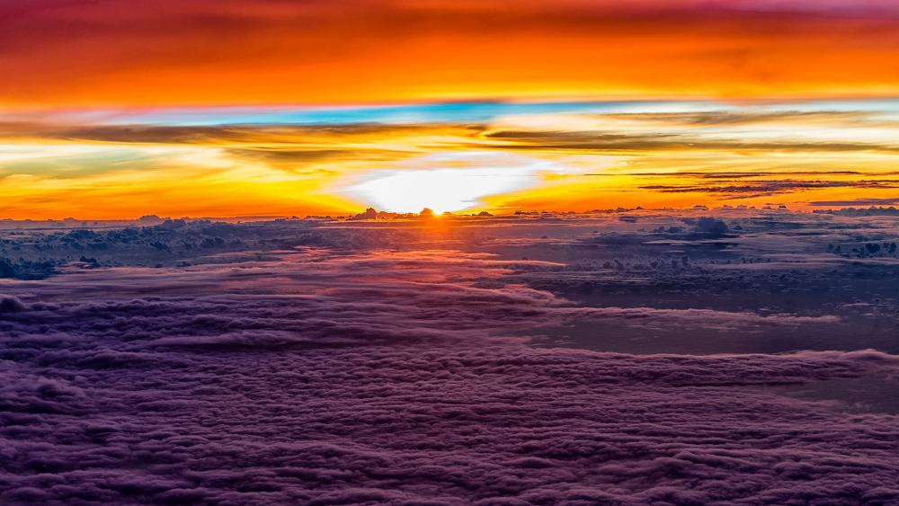 Sunset above the clouds wallpaper