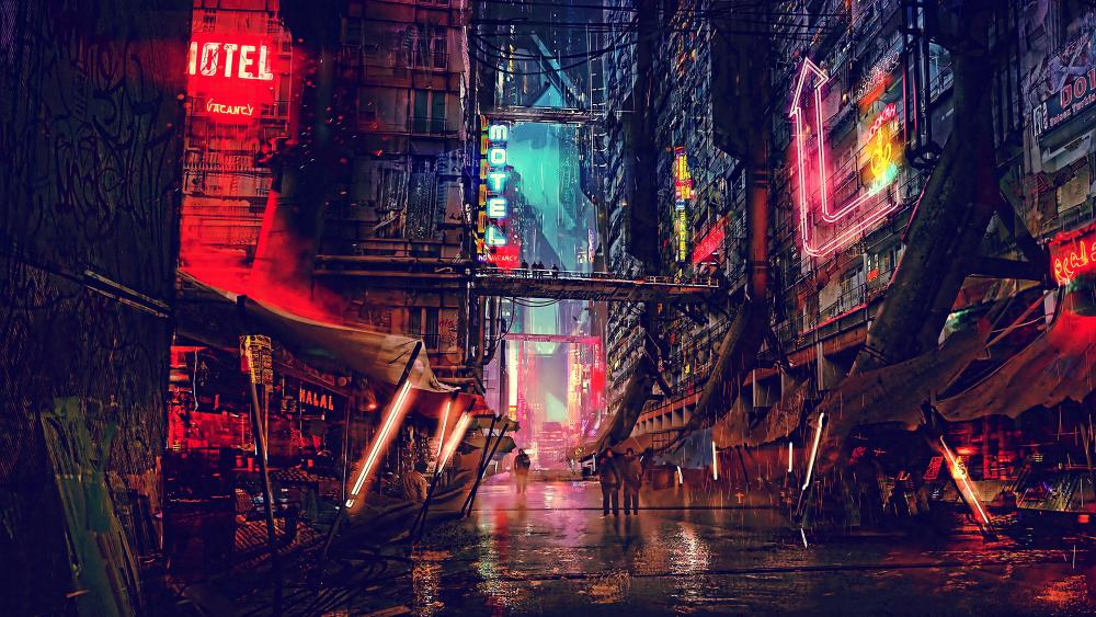 Cyberpunk Futuristic City Digital Art wallpaper
