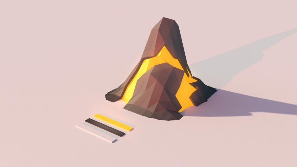 Volcano lowpoly wallpaper