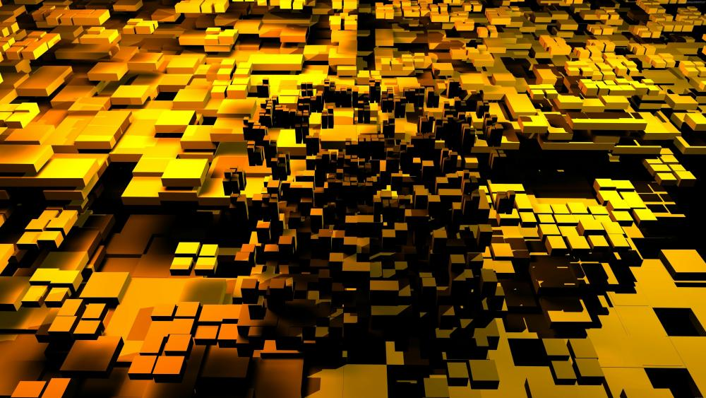 Yellow 3D cubes wallpaper