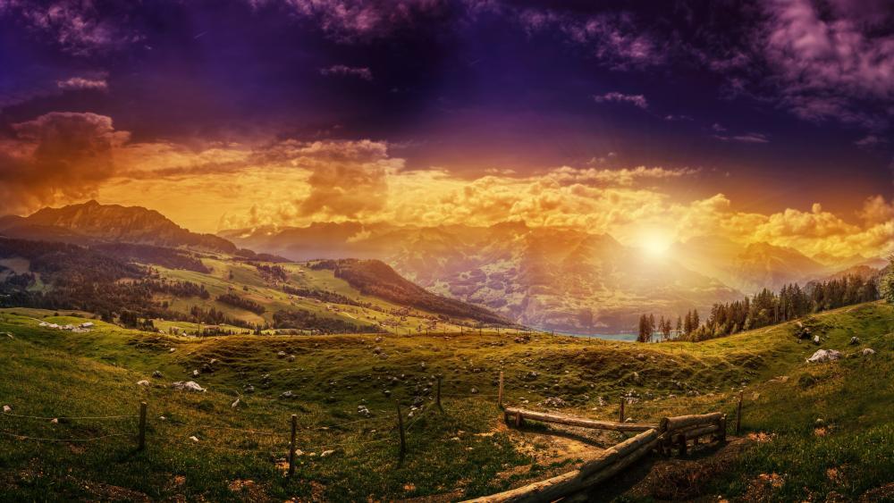 Beautiful landscape at sunset wallpaper