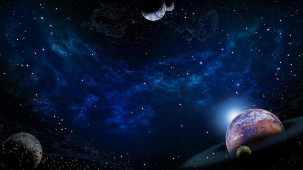 Starry sky with planets wallpaper