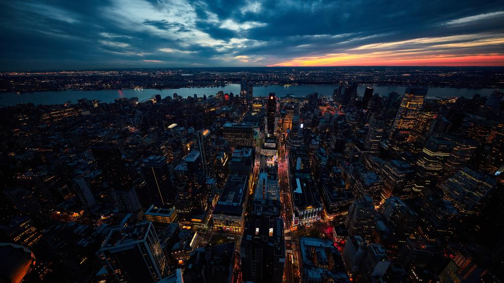 New York City at dusk wallpaper