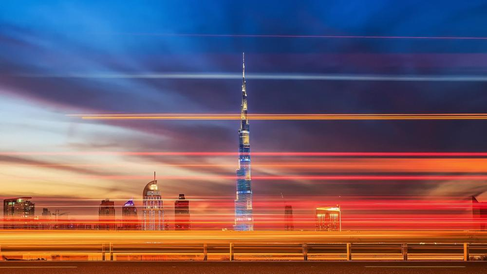 Burj Khalifa with light trails wallpaper