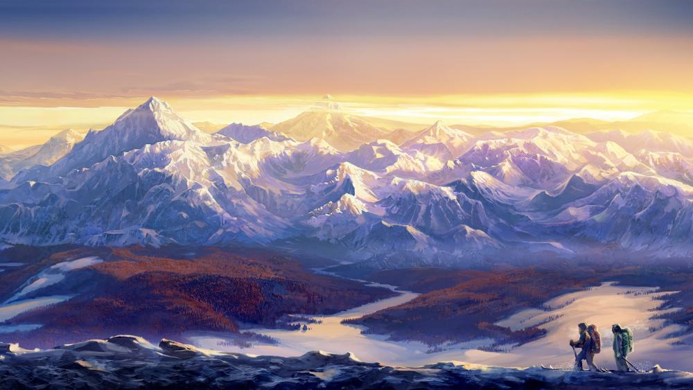 Climbers - Painting art wallpaper