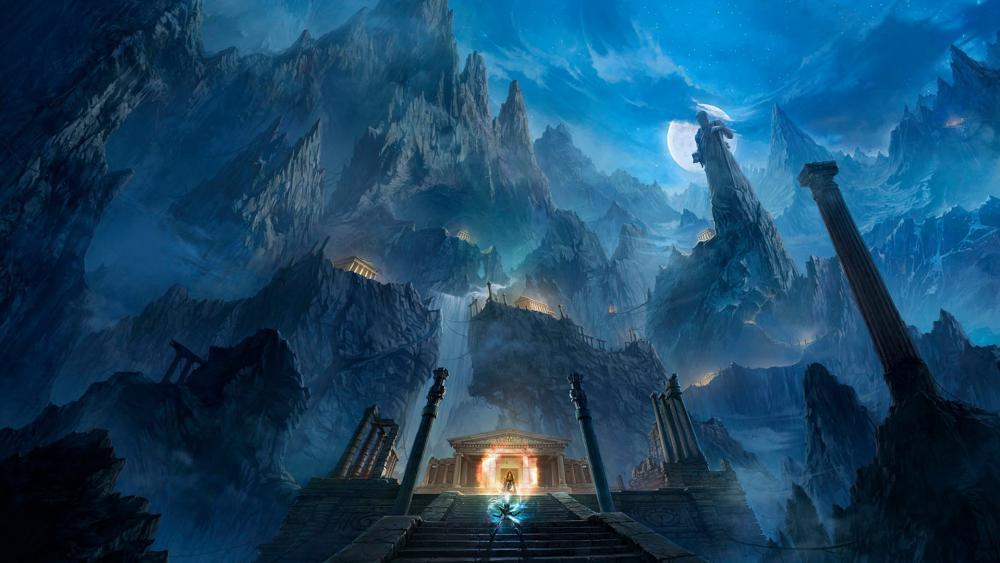 Fantasy ancient city wallpaper