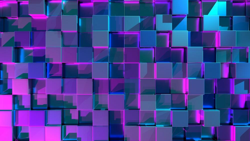 3D Glowing cubes wallpaper