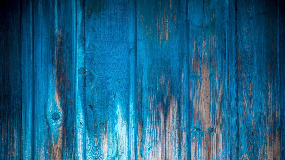 Blue wooden slats wallpaper