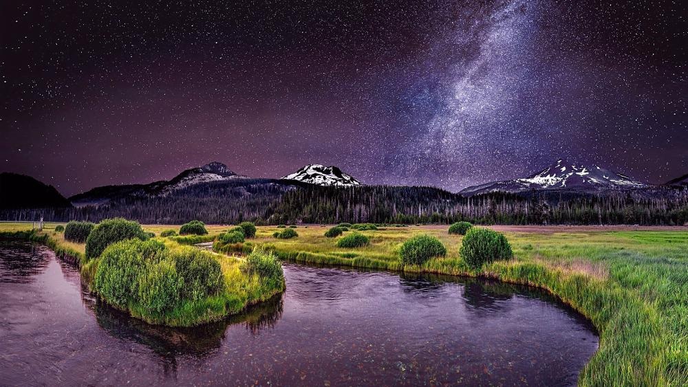 Night landscape with the Milky Way wallpaper