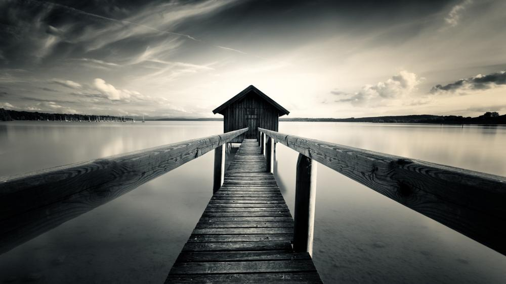 Boathouse - One Point Perspective Photography wallpaper