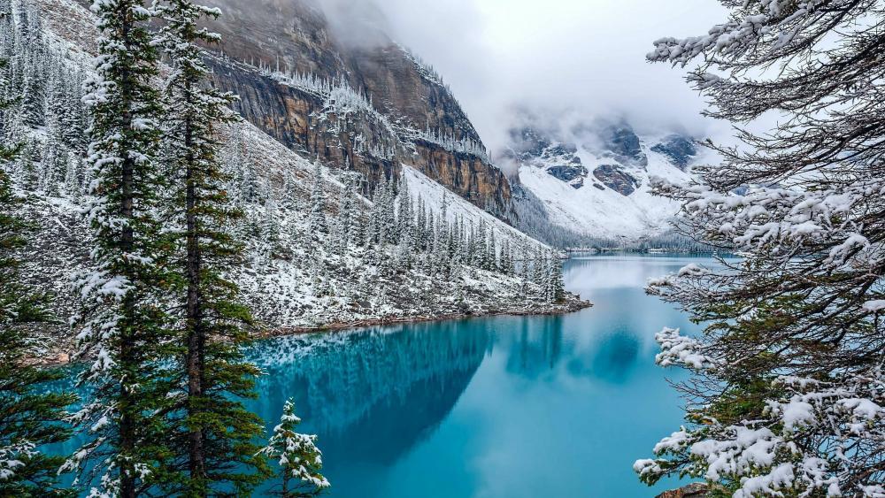 Moraine Lake in winter wallpaper
