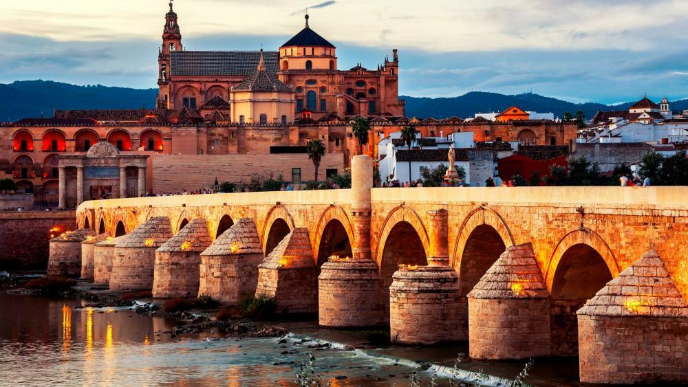 Roman Bridge and The Great Mosque of Cordoba wallpaper