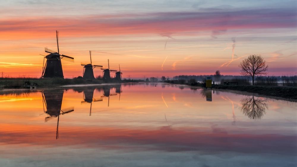 Kinderdijk Windmills wallpaper