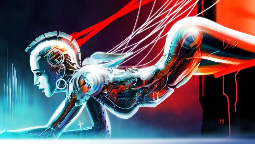 Robot girl art wallpaper