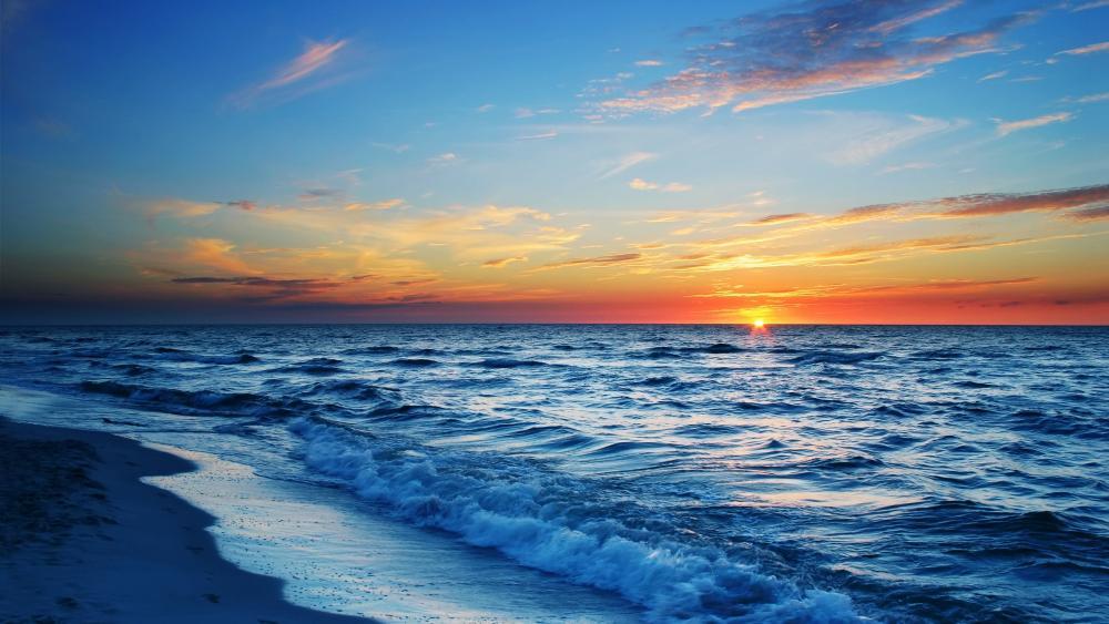 Seashore sunset wallpaper