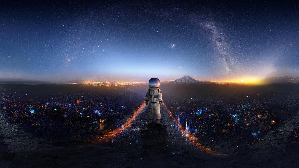 Walking on an alien planet wallpaper