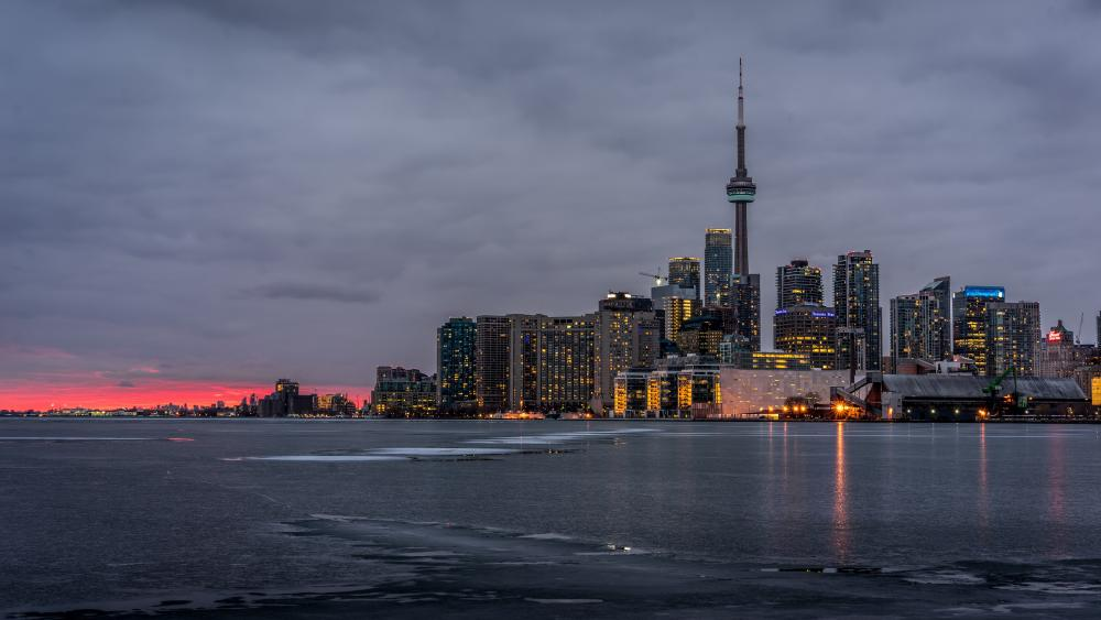 Cloudy Toronto skyline with the CN Tower wallpaper